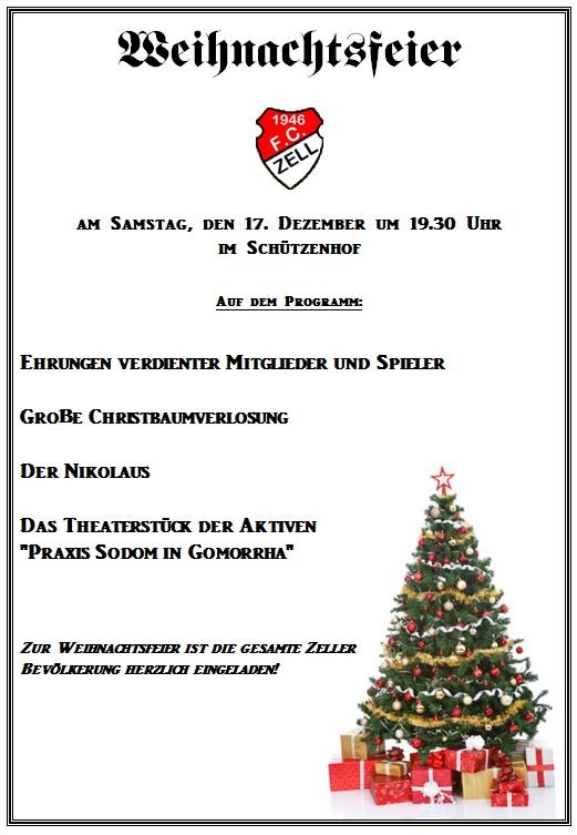 Weihnachtsfeierplakat FC Zell